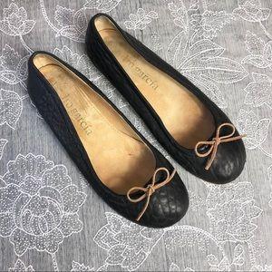 Pedro Garcia pebbled leather bow ballerina flat 41